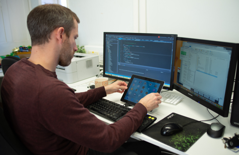 Software Developer busy at work