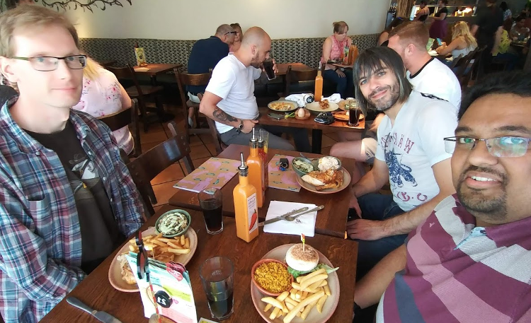 Xibis team enjoying well deserved lunch at Nandos